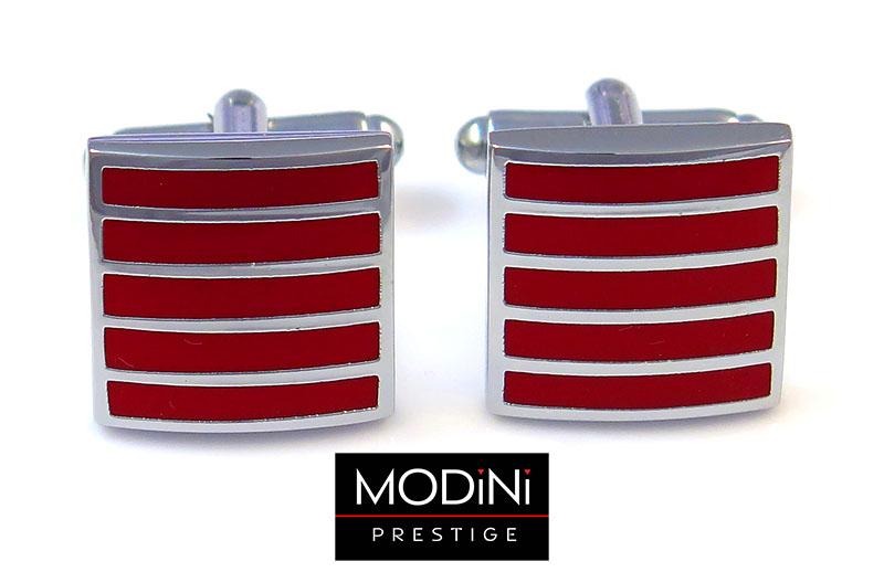 Kwadratowe czerwone spinki do mankietów - pionowe srebrne paski N128