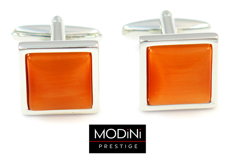 Srebrne spinki do mankietów - pomarańczowe kwadraty