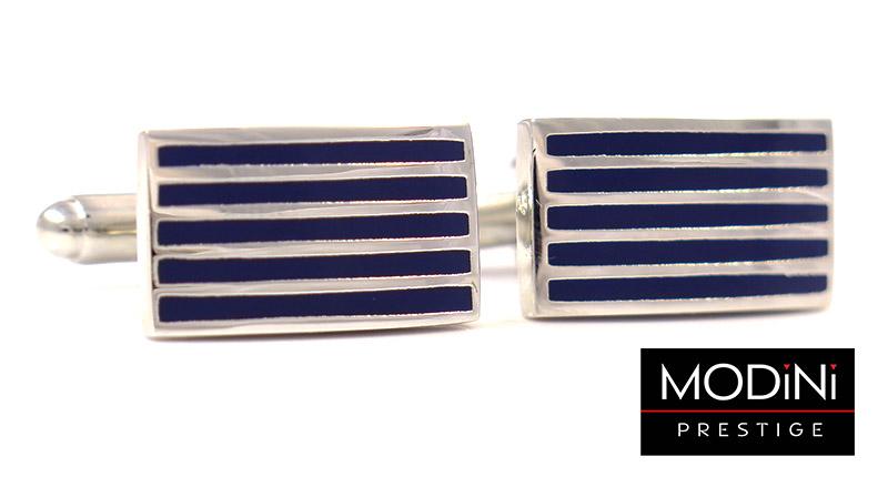 Granatowe spinki do mankietów - poziome srebrne linie N33