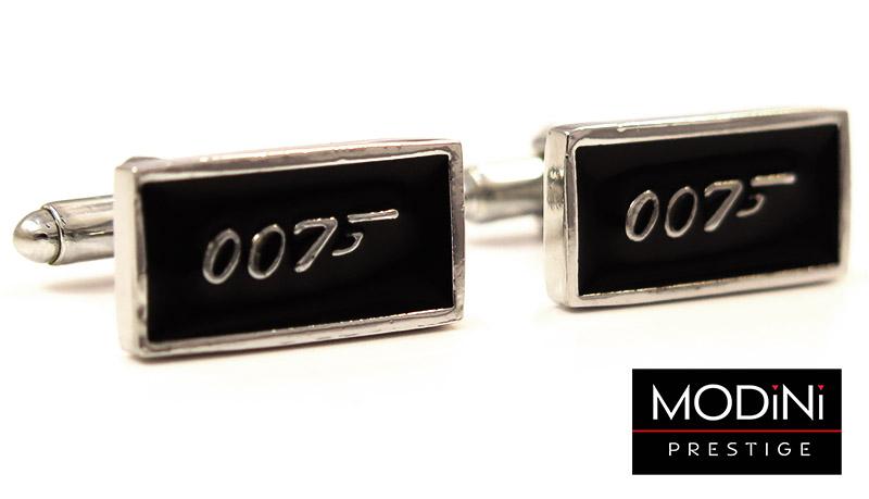 Srebrno-czarne spinki do mankietów - James Bond