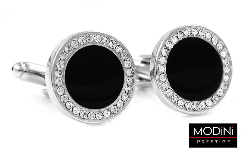 Czarne okrągłe spinki do mankietów z kryształami H131