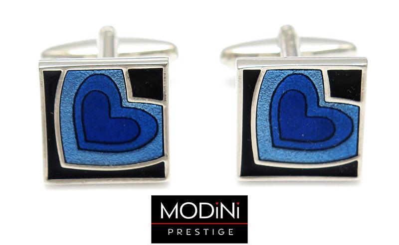 Kwadratowe spinki do mankietów - niebieskie serca