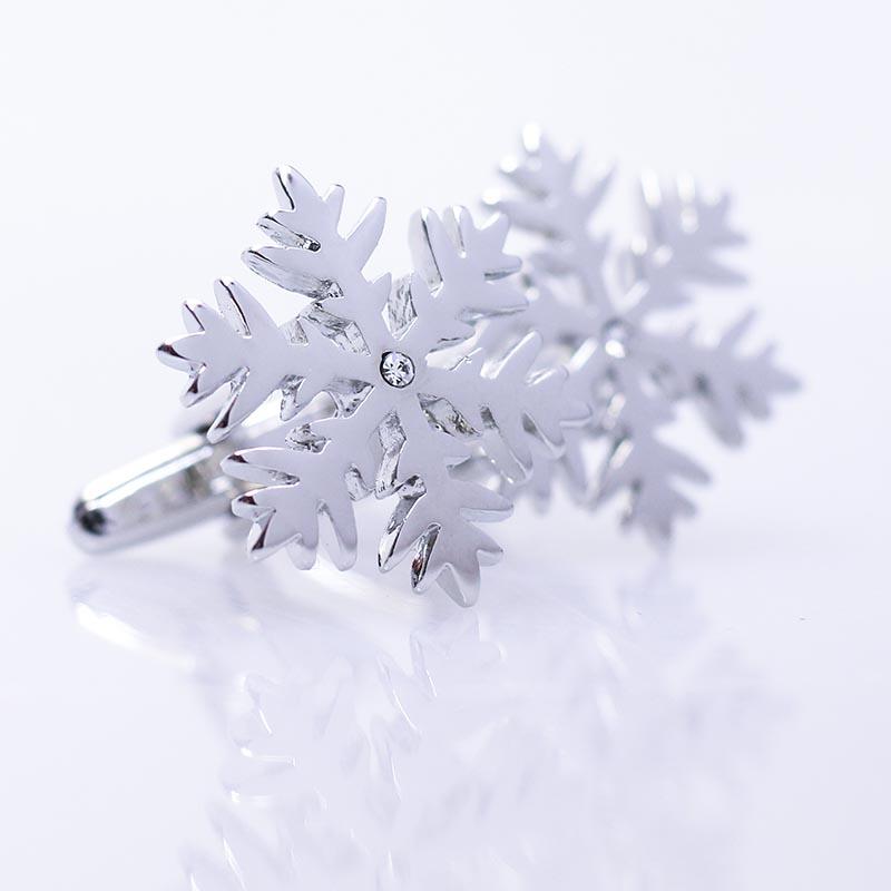Srebrne spinki do mankietów - płatki śniegu U42