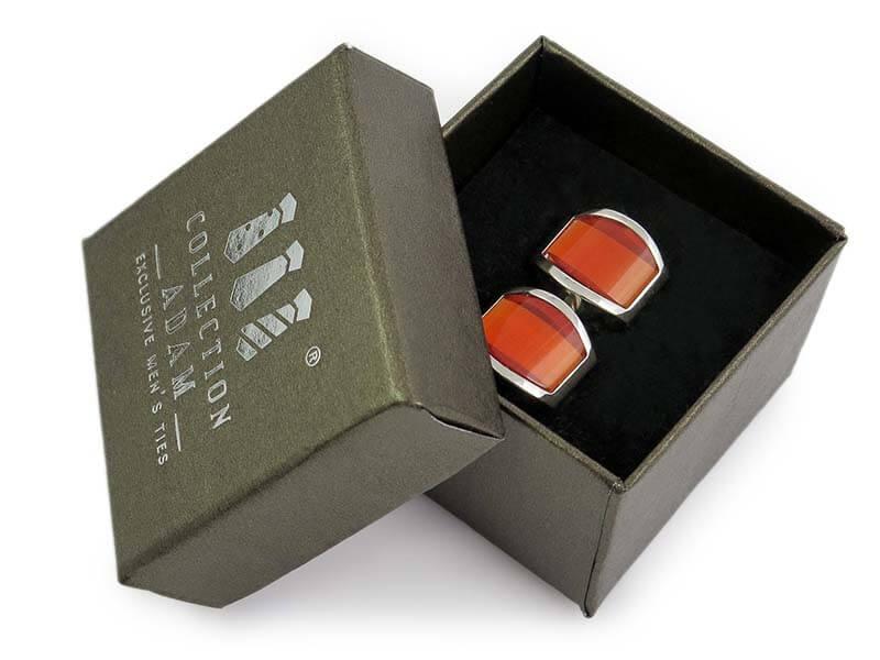 Zaokrąglone pomarańczowe spinki do mankietów A202