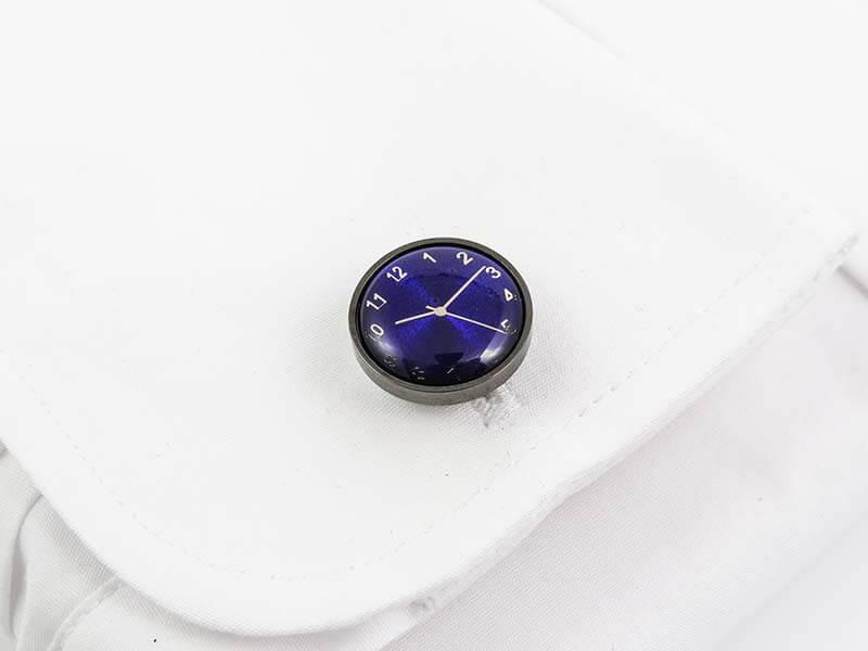 Spinki do mankietów - grafitowo-niebieskie zegarki A204