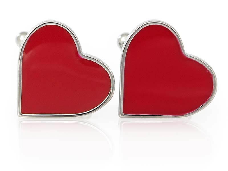 Spinki do mankietów czerwona serca / serduszka A74