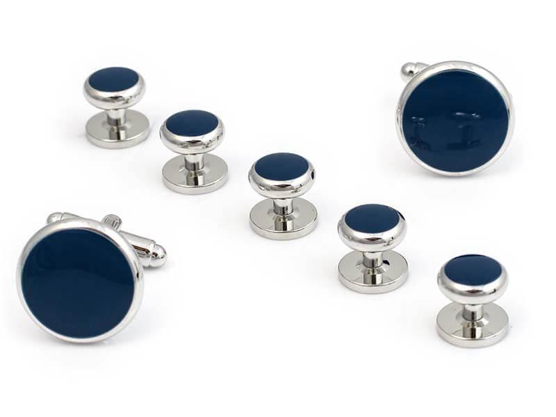 Srebrne spinki i guziki jubilerskie z granatowym oczkiem do koszuli smokingowej- zestaw H18