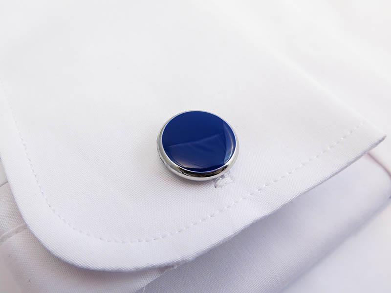 Srebrne spinki smokingowe z niebieskim oczkiem H86