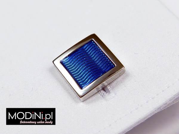 Kwadratowe srebrne spinki - niebieskie fale