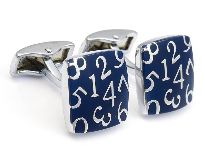 Granatowe kwadratowe spinki do mankietów - cyfry A150