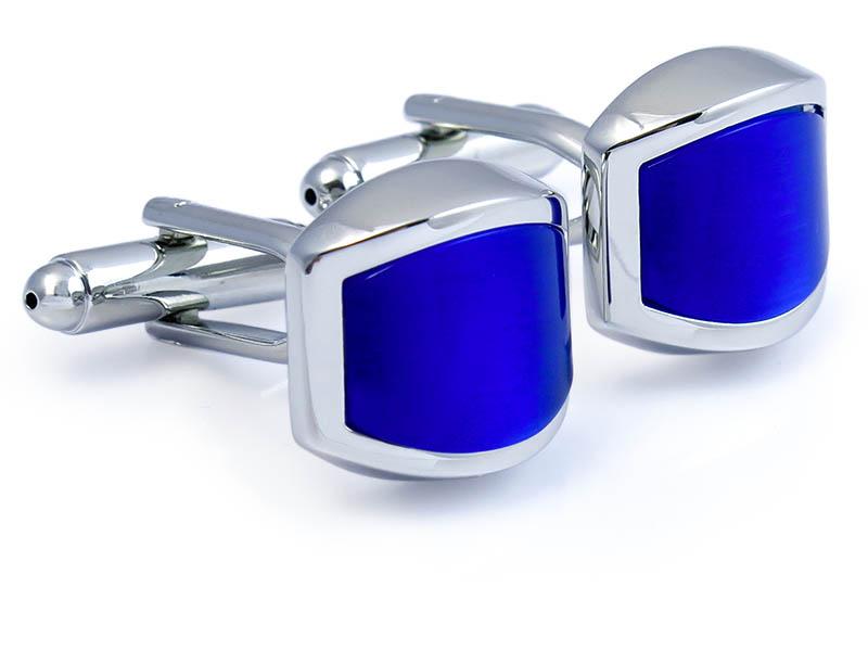 Zaokrąglone kobaltowe spinki do mankietów A164