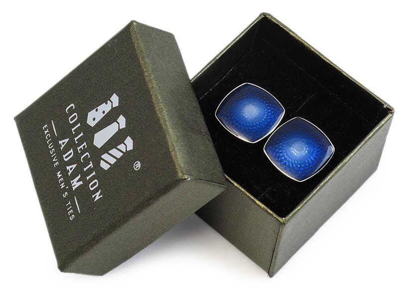 Kwadratowe niebieskie spinki do mankietów A167