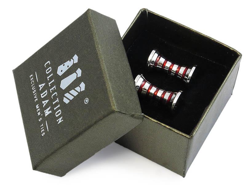 Srebrno-czerwone spinki do mankietów A169