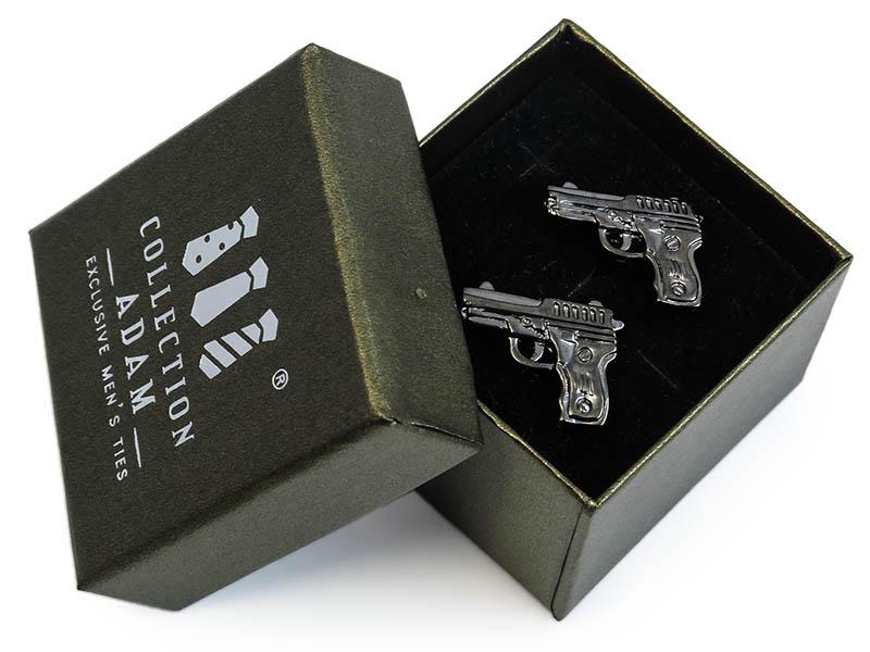 Grafitowe spinki do mankietów - pistolety A173