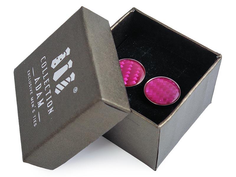 Różowe okrągłe spinki do mankietów A190
