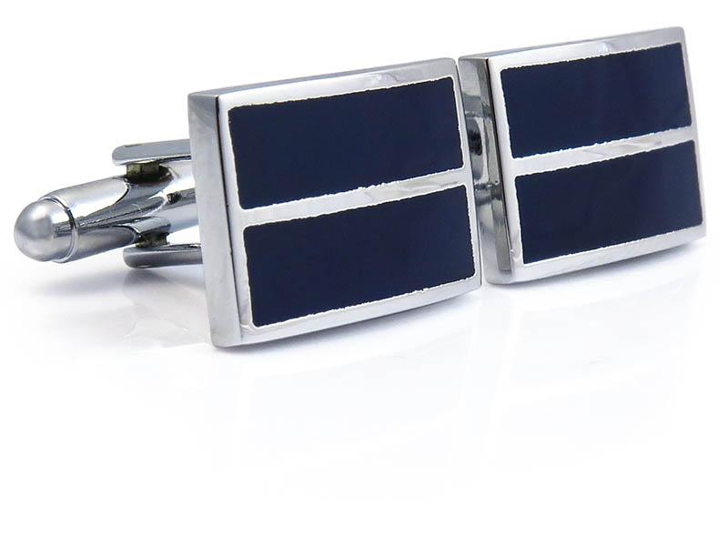 Granatowo-srebrne spinki do mankietów N104