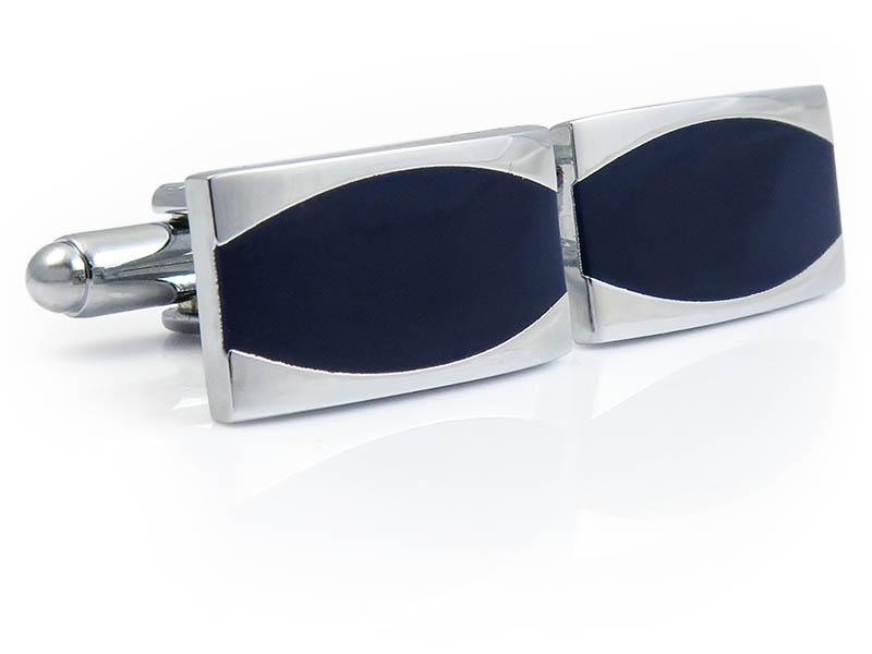 Granatowo-srebrne spinki do mankietów N105