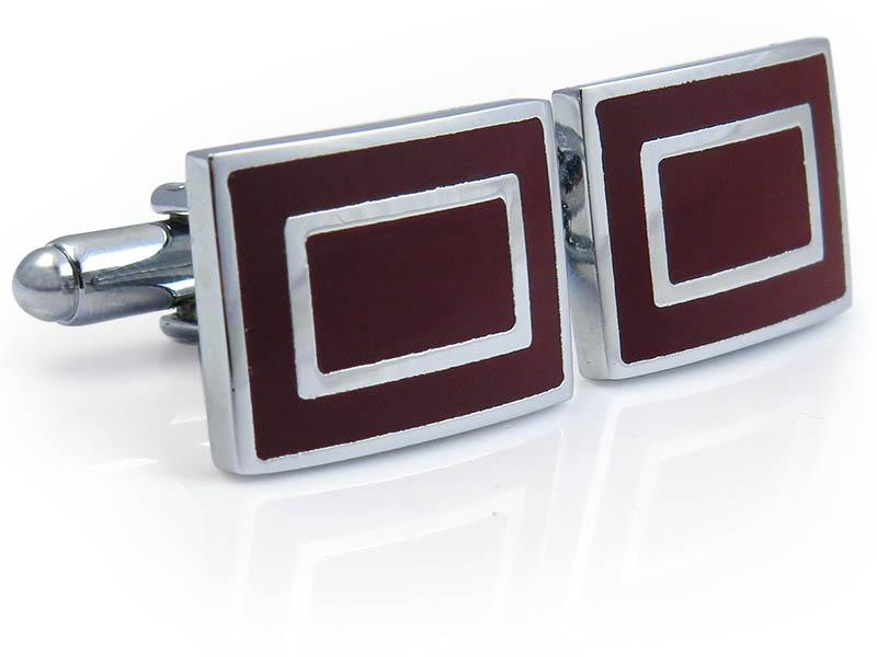 Prostokątne srebrno-bordowe spinki do mankietów N108