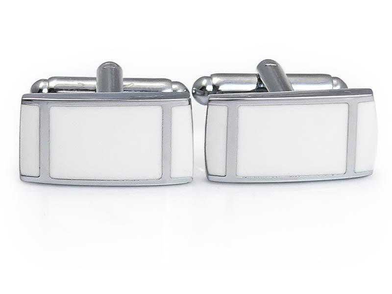 Srebrno-białe spinki do mankietów z pionowymi paskami N114