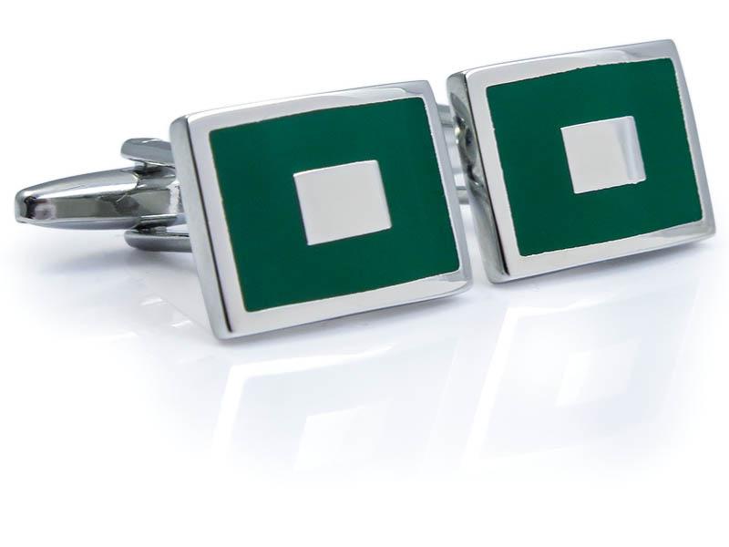 Zielono-srebrne spinki do mankietów N115