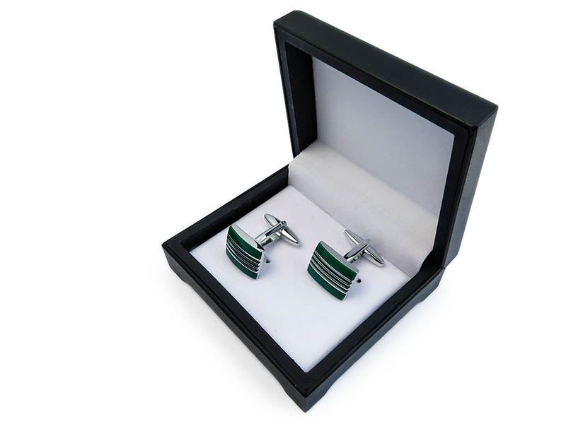 Zielono-srebrne spinki do mankietów N116