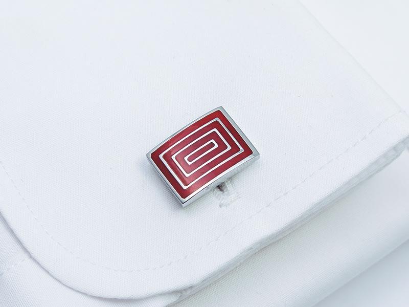 Srebrno-czerwone spinki do mankietów - prostokąty N141