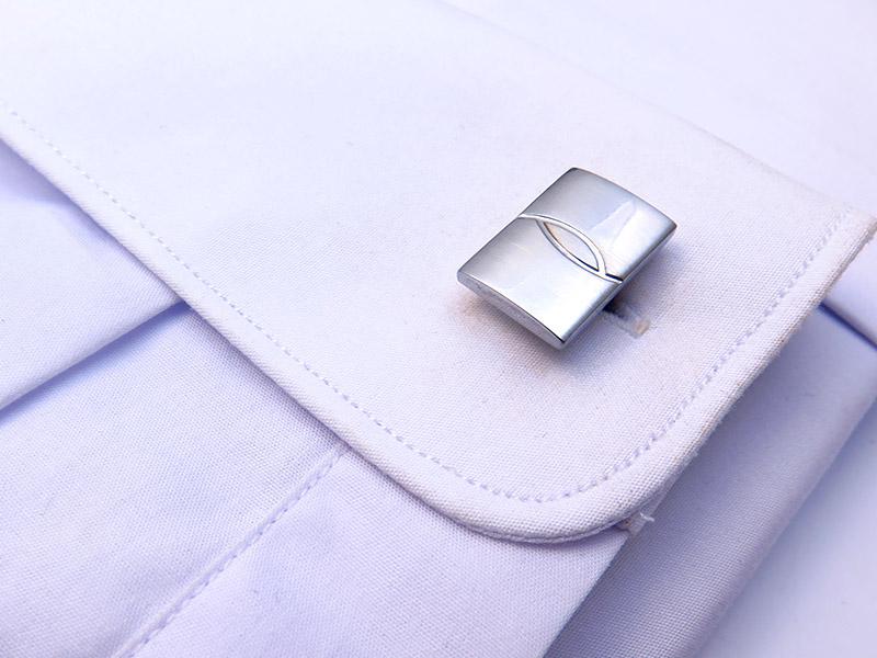 Prostokątne, srebrne spinki do mankietów N69