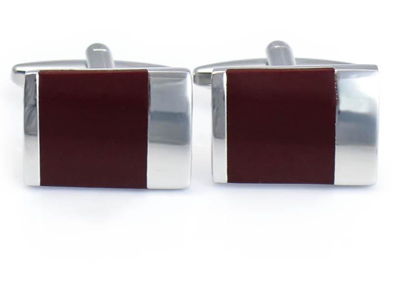 Bordowo-srebrne spinki do mankietów N84