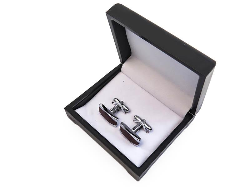 Bordowo-srebrne spinki do mankietów N86