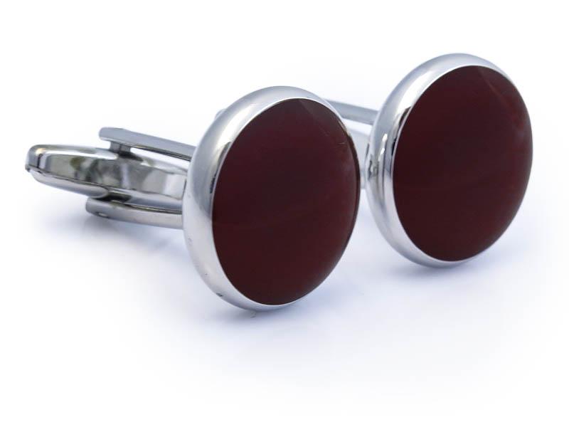 Srebrne spinki smokingowe z bordowym oczkiem N87