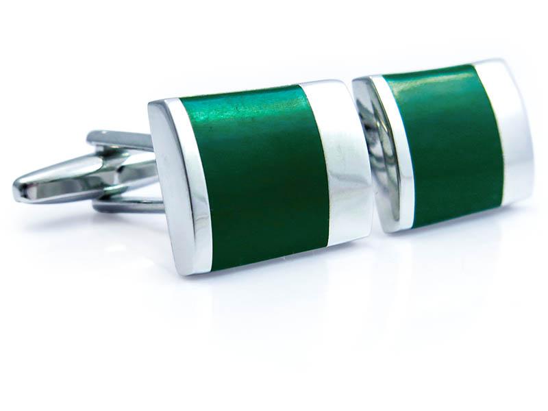 Zielono-srebrne spinki do mankietów N92