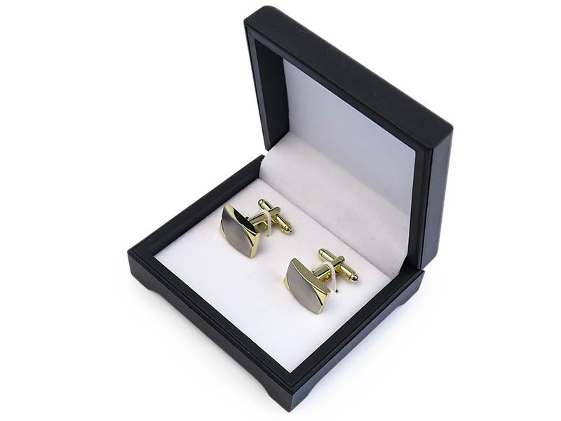 Prostokątne srebrno-złote spinki do mankietów N97