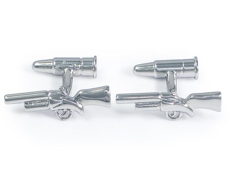 Srebrne spinki do mankietów - strzelby N133