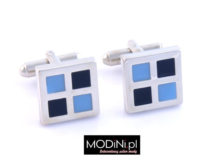 Spinki - błękitne - granatowe kwadraty