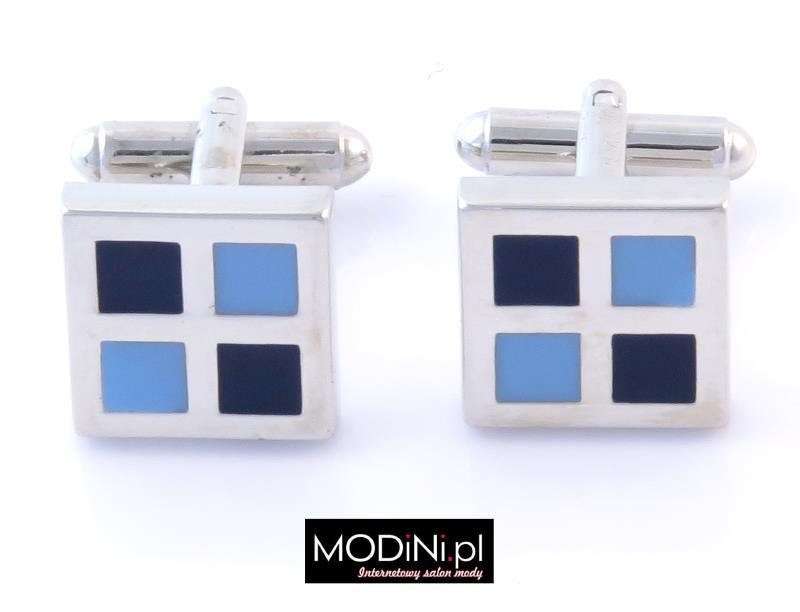 Spinki do mankietów - błękitne - granatowe kwadraty