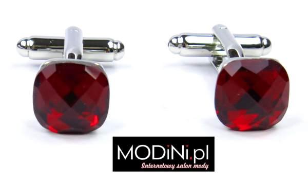 Spinki do mankietów czerwone kryształy