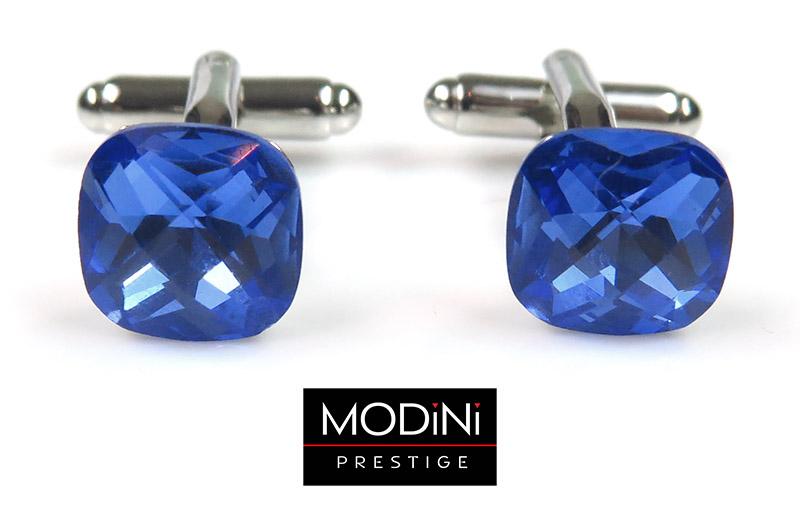 niebieskie kryształy spinki do mankietów