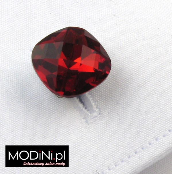 Spinki do mankietów czerwony kryształ