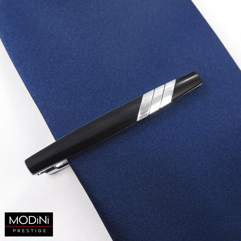 stalowa czarna spinka do krawata ze srebrnymi paskami