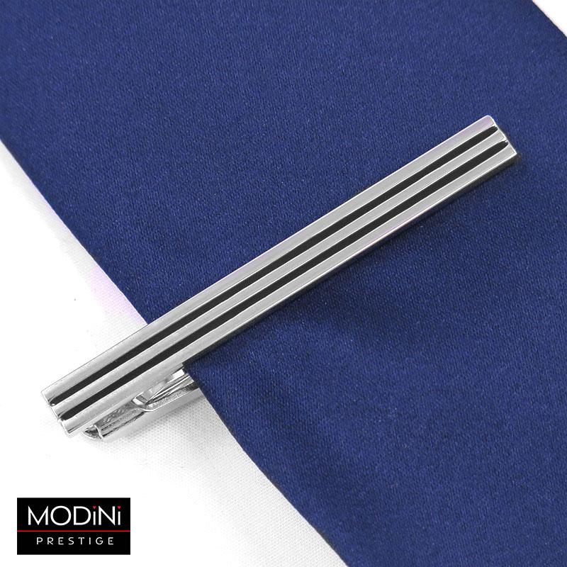 Srebrna spinka do krawata z czarnymi liniami ZS9