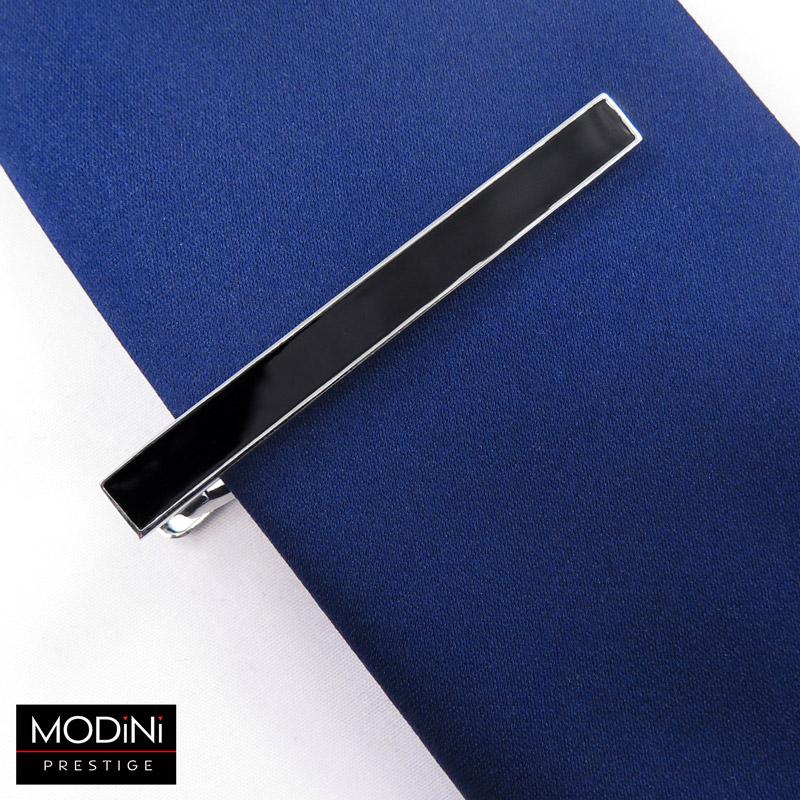 stalowa spinka do krawata z czarnym środkiem