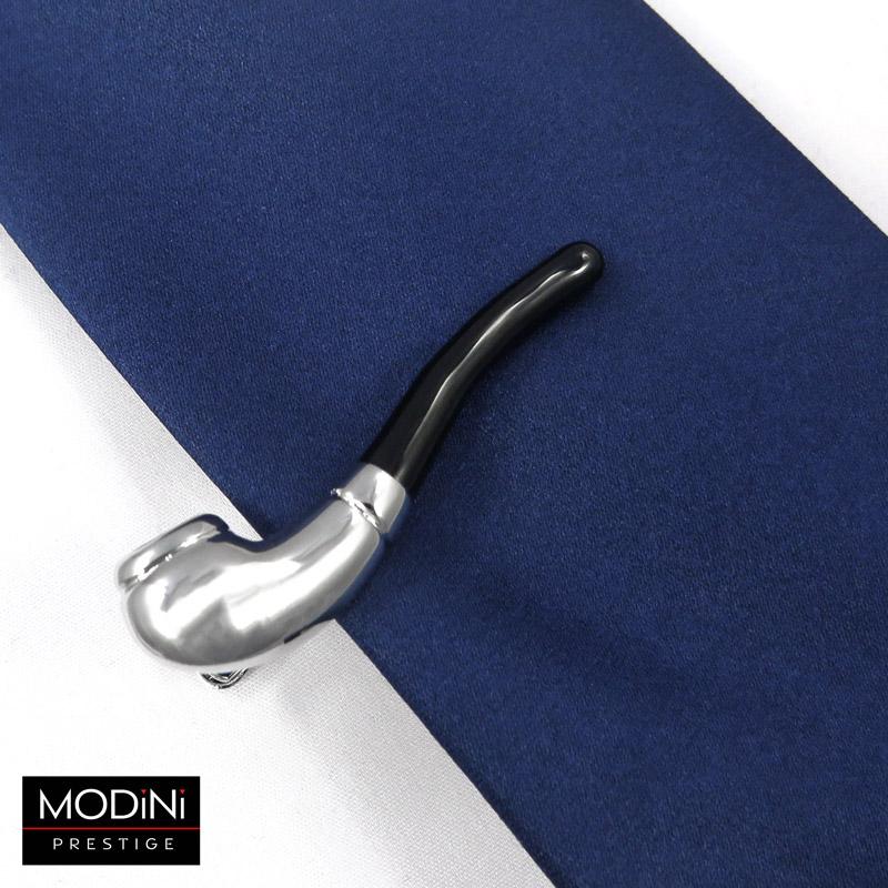 srebrna spinka do krawata - fajka
