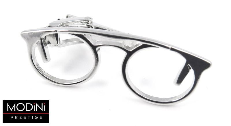 srebrna spinka do krawata w kształcie okularów