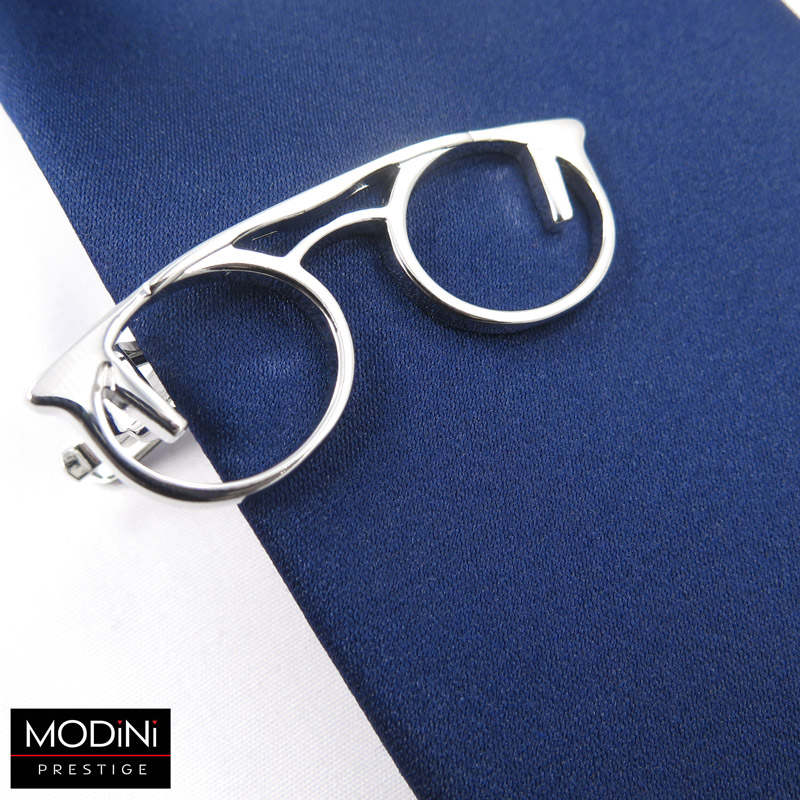 srebrna spinka do krawata - okulary