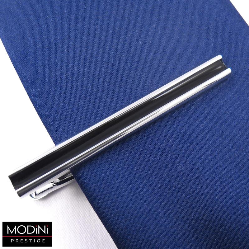 srebrna spinka do krawata z czarnym paskiem