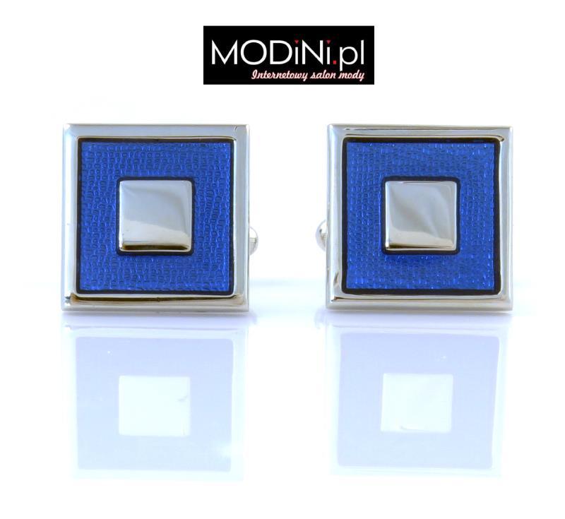 Srebrne spinki niebieskie kwadraty