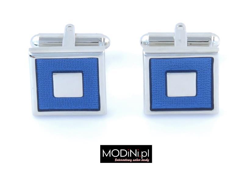 Spinki srebrne - niebieskie kwadraty