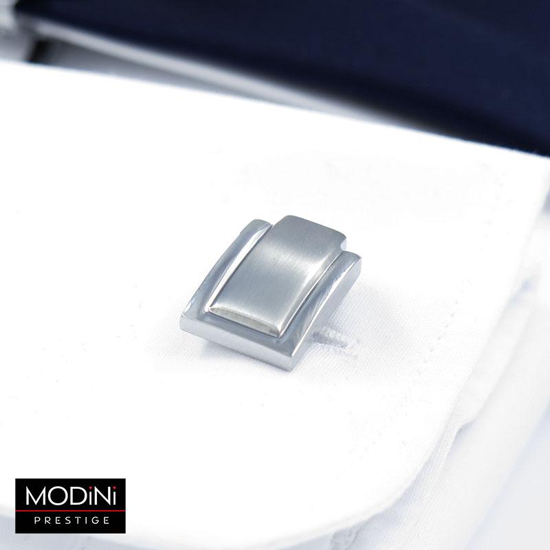 Srebrne spinki do mankietów i krawata - podłużny środek