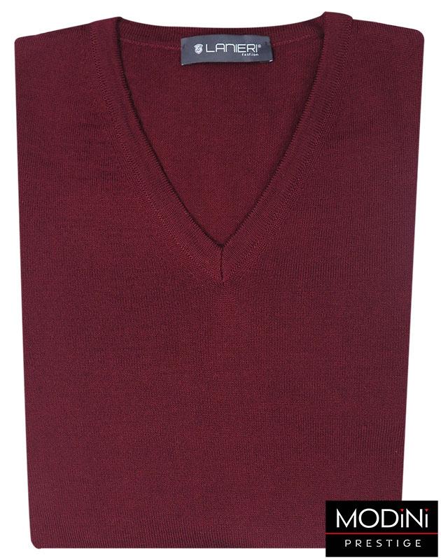 Bordowy sweter męski w szpic SW2