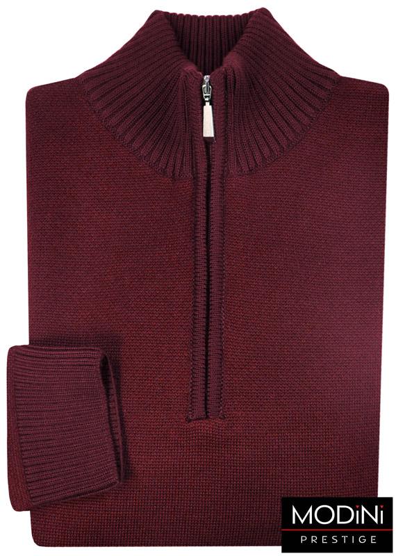 bordowy sweter męski rozpinany pod szyją